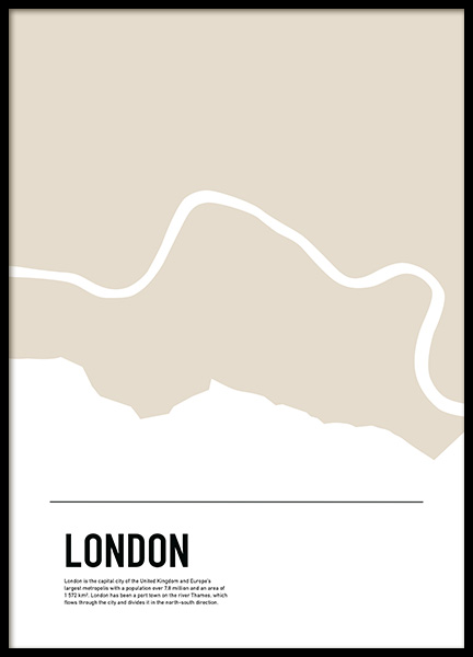 Graphic Map London Juliste ryhmässä Julisteet  / Koot / 50x70 cm @ Desenio AB (11932)