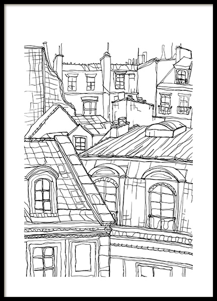 Roof Tops in Paris Juliste ryhmässä Julisteet  / Koot / 50x70 cm @ Desenio AB (12922)