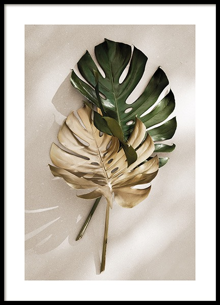 Gold Monstera No1 Juliste ryhmässä  @ Desenio AB (13667)