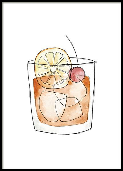Old Fashioned Illustration Juliste ryhmässä Julisteet / Keittiötaulut / Viinit & cocktailit @ Desenio AB (13695)