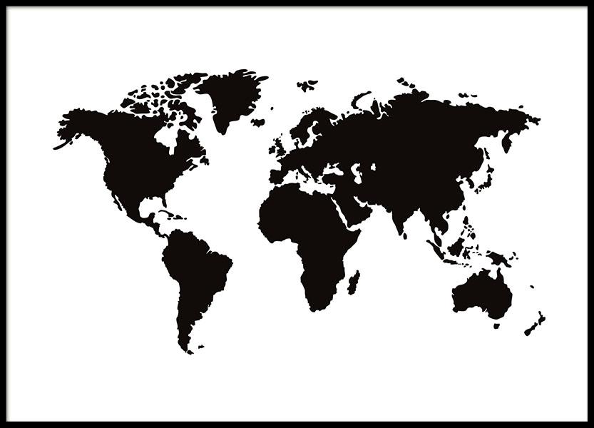 Juliste mustavalkoisella maailmankartalla taulut ja for Mappa mondo bianco e nero