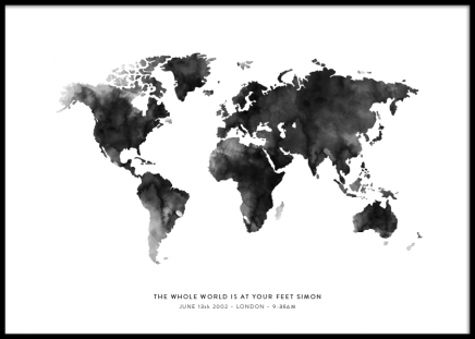 World Map Grey Personal Juliste ryhmässä Julisteet  / Tee oma juliste @ Desenio AB (pp0016)