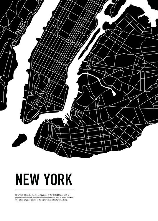 Graphic City Map New York Juliste