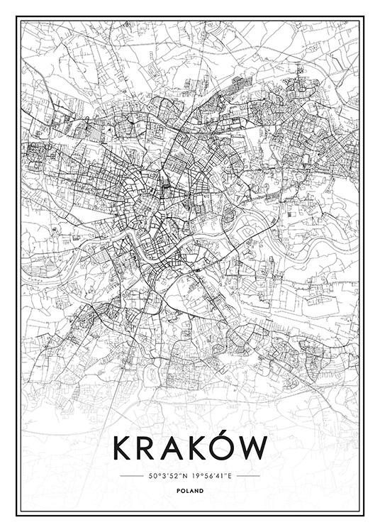 Krakow Map Juliste