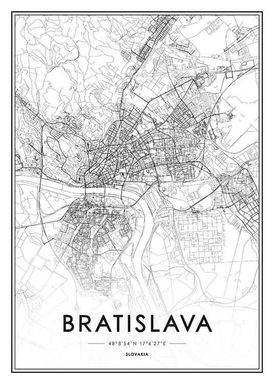 Bratislava Map Juliste