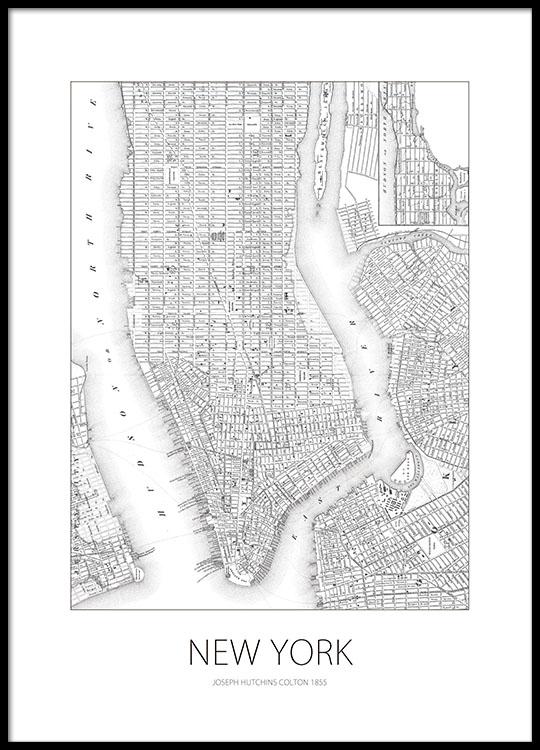 Posteri Juliste New Yorkin Kartalla Taulut Netista Desenio Fi