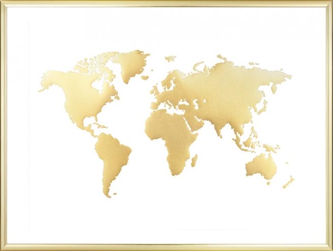 Maailmankartta Juliste Taulut Kultavarilla Desenio Fi