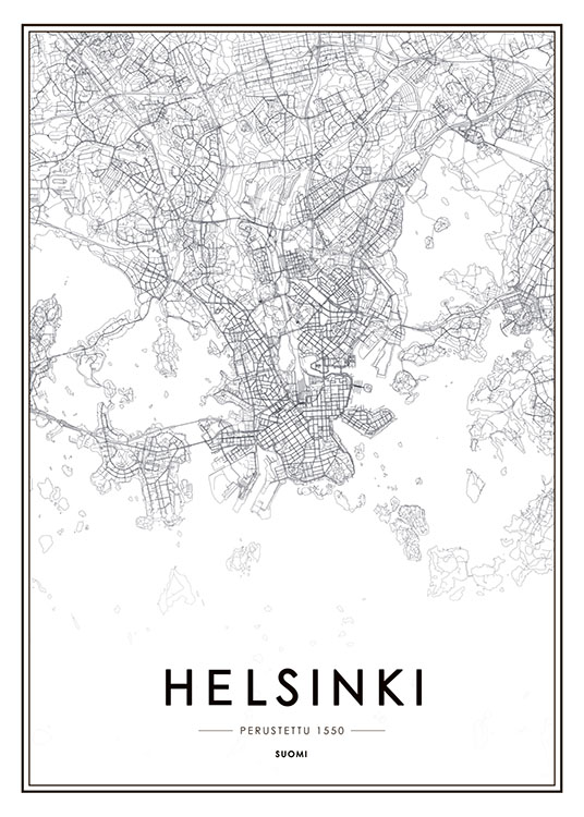 Juliste Jossa Helsinki Kartta Desenio Fi