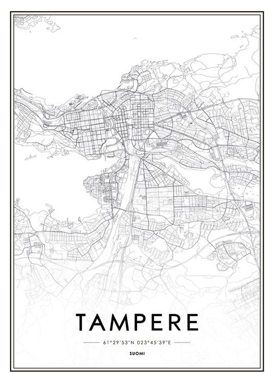 Juliste Tampere Motiivilla Juliste Kartalla Taulut Kartoilla