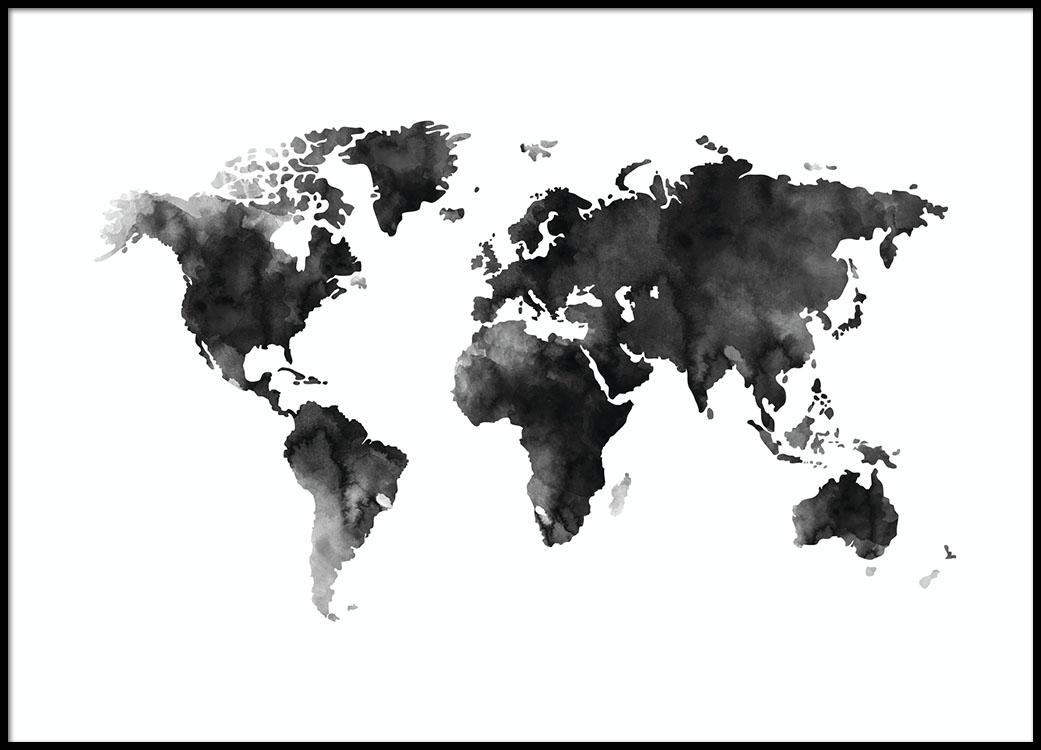 Mustavalkoinen Maailmankarttajuliste Akvarellina Desenio Fi