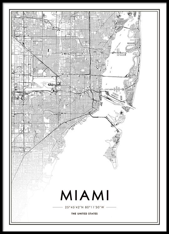 Miami Map Juliste